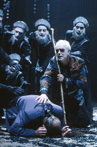 John Shrapnel (Creon - face down), Clifford Rose (Tiresias) and Chorus in ANTIGONE by Sophocles at the Swan Theatre, Royal Shakespeare Company (RSC), Stratford-upon-Avon, England  25/10/1991     part...