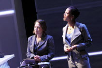 GETHSEMANE   by David Hare   set design: Bob Crowley   costumes: Fotini Dimou   lighting: Mark Henderson   director: Howard Davies ~l-r: Nicola Walker (Lori Drysdale), Gugu Mbatha-Raw (Monique Toussai...