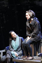 GETHSEMANE   by David Hare   ~set design: Bob Crowley   costumes: Fotini Dimou   lighting: Mark Henderson   director: Howard Davies ~l-r: Nicola Walker (Lori Drysdale), Jessica Raine (Suzette Guest)~C...