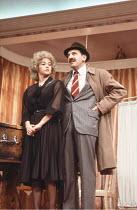LOOT   by Joe Orton   design: Saul Radomsky   lighting: Mick Hughes   director: Jonathan Lynn ~~Gemma Craven (Nurse Fay), Leonard Rossiter (Inspector Truscott)~Ambassador's Theatre, London WC2...