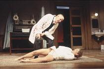 WHAT THE BUTLER SAW   by Joe Orton   design: Mark Thompson   lighting: Rick Fisher   director: Phyllida Lloyd ~Richard Wilson (Dr Rance), Debra Gillett (Geraldine Barclay)~Lyttelton Theatre / National...
