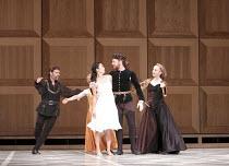 ROMEO AND JULIET   On Motifs of Shakespeare    music: Sergey Prokofiev   ~set design: Allen Meyer   costumes: Martin Pakledinaz   choreography: Mark Morris ~l-r: Shawn Gannon (Capulet), Maile Okamura...