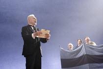TWELFTH NIGHT   by Shakespeare   design: Christopher Oram   lighting: Neil Austin   director: Michael Grandage ~l-r: Derek Jacobi (Malvolio), Guy Henry (Sir Andrew Aguecheek), Samantha Spiro (Maria),...