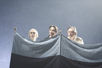 TWELFTH NIGHT   by Shakespeare   design: Christopher Oram   lighting: Neil Austin   director: Michael Grandage ~~spying on Malvolio - l-r: Guy Henry (Sir Andrew Aguecheek), Samantha Spiro (Maria), Ron...