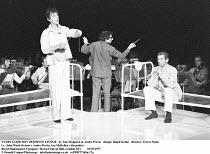 EVERY GOOD BOY DESERVES FAVOUR   by Tom Stoppard & Andre Previn   design: Ralph Koltai   director: Trevor Nunn ~l-r: John Wood (Ivanov), Andre Previn, Ian McKellen (Alexander)~Royal Shakespeare Compan...
