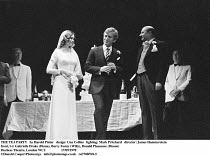 THE TEA PARTY   by Harold Pinter   design: Una Collins   lighting: Mark Pritchard   director: James Hammerstein ~front, l-r: Gabrielle Drake (Diana), Barry Foster (Willy), Donald Pleasance (Disson)~Du...