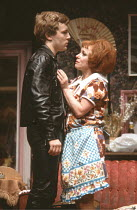 ENTERTAINING MR SLOANE   by Joe Orton   design: Saul Radomsky   director: Kenneth Williams ~~Glyn Grimstead (Sloane), Barbara Windsor (Kath)~Lyric Hammersmith (LTH), London W6     18/03/1981