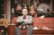 ENTERTAINING MR SLOANE   by Joe Orton   design: Saul Radomsky   director: Kenneth Williams ~~l-r: Dave King (Ed), Glyn Grimstead (Sloane)~Lyric Hammersmith (LTH), London W6     18/03/1981