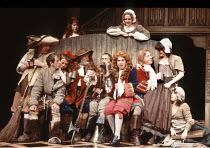 THE RELAPSE   by Sir John Vanbrugh   design: Adrian Vaux   director: Michael Simpson ~seated 5th from left:  Damien Thomas (Worthy)~Old Vic Company / Old Vic Theatre, London SE1        27/01/1981