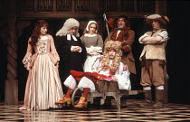 THE RELAPSE   by Sir John Vanbrugh   design: Adrian Vaux   director: Michael Simpson ~l-r: Julia Swift (Hoyden), Henry Moxon (Bull), ???/???, (front) John Nettles (Lord Foppington), Barry Stanton (Tun...