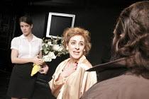 SIMPATICO   by Sam Shepard   design: Lorna Ritchie   director: Hannah Eidinow ~l-r: Sonya Cassidy (Kelly), Danielle King (Rosie), Phil Nichol (Vinnie)   ~Old Red Lion Theatre, London EC1...