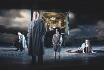 AN INSPECTOR CALLS   by J B Priestley   design: Ian MacNeil   director: Stephen Daldry ~~l-r: Richard Pasco (Mr Birling), Kenneth Cranham (Inspector Goole), (child), Barbara Leigh-Hunt (Mrs Birling)~L...