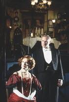 AN INSPECTOR CALLS   by J B Priestley   design: Ian MacNeil   director: Stephen Daldry ~~Judy Parfitt (Sybil Birling), Julian Glover (Arthur Birling)~National Theatre production / Aldwych Theatre, Lon...