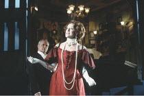 AN INSPECTOR CALLS   by J B Priestley   design: Ian MacNeil   director: Stephen Daldry ~~Julian Glover (Arthur Birling), Judy Parfitt (Sybil Birling)~National Theatre production / Aldwych Theatre, Lon...