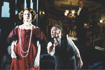 AN INSPECTOR CALLS   by J B Priestley   design: Ian MacNeil   director: Stephen Daldry ~~Judy Parfitt (Sybil Birling), Kenneth Cranham (Inspector Goole)~National Theatre production / Aldwych Theatre,...