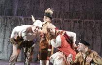 A MIDSUMMER NIGHT'S DREAM   by Shakespeare   design: Michael Pavelka   lighting: Ben Ormerod   director: Edward Hall   l-r: Bob Barrett (Bottom / Pyramus), Kelsey Brookfield (Snout / Wall), John Doug...