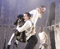 A MIDSUMMER NIGHT'S DREAM   by Shakespeare   design: Michael Pavelka   lighting: Ben Ormerod   director: Edward Hall   l-r: Sam Swainsbury (Demetrius), Jack Tarlton (Lysander), Babou Ceesay (Helena)...