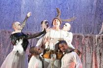 A MIDSUMMER NIGHT'S DREAM   by Shakespeare   design: Michael Pavelka   lighting: Ben Ormerod   director: Edward Hall   left: Richard Dempsey (Titania)   centre: Bob Barrett (Bottom)   and fairies Pr...