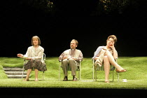WOMAN IN MIND   written & directed by Alan Ayckbourn   design: Roger Glossop   lighting: Mick Hughes ~l-r: Joanna David (Muriel), Stuart Fox (Gerald), Janie Dee (Susan)~Stephen Joseph Theatre (SJT) /...