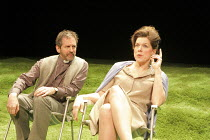WOMAN IN MIND   written & directed by Alan Ayckbourn   design: Roger Glossop   lighting: Mick Hughes ~Stuart Fox (Gerald), Janie Dee (Susan)~Stephen Joseph Theatre (SJT) / Scarborough production   Vau...