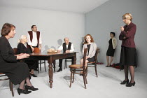 SEVEN JEWISH CHILDREN   by Caryl Churchill   director: Dominic Cooke ~l-r: Jennie Stoller, Ruth Posner, Ben Caplan, David Horovitch, (rear) Jack Chissick, Daisy Lewis, Alexis Zegerman, Susannah Wise~J...