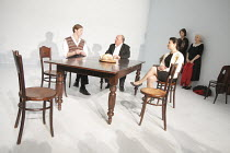 SEVEN JEWISH CHILDREN   by Caryl Churchill   director: Dominic Cooke ~l-r: Samuel Roukin, Jack Chissick, Alexis Zegerman, Jennie Stoller, Ruth Posner~Jerwood Theatre Downstairs / Royal Court Theatre (...