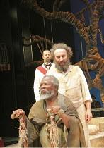 THE TEMPEST   by Shakespeare    design: Illka Louw   lighting: Mannie Manim   director: Janice Honeyman   l-r: (front) John Kani (Caliban), (rear) Lionel Newton (Antonio), Antony Sher (Prospero) B...