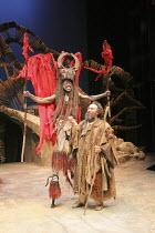 THE TEMPEST   by Shakespeare    design: Illka Louw   lighting: Mannie Manim   director: Janice Honeyman   l-r: Atandwa Kani (Ariel), Antony Sher (Prospero) Baxter Theatre Centre (Cape Town) in ass...
