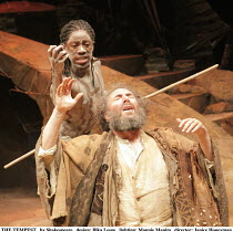 THE TEMPEST   by Shakespeare   design: Illka Louw   lighting: Mannie Manim   director: Janice Honeyman ~~l-r: Atandwa Kani (Ariel), Antony Sher (Prospero)~Baxter Theatre Centre (Cape Town) in associat...