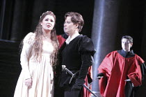 I CAPULETI E I MONTECCHI   by Bellini   conductor: Mark Elder   design, original lighting & direction: Pier Luigi Pizzi ~l-r: Anna Netrebko (Giulietta), Elina Garanca (Romeo)~The Royal Opera (RO) / Co...