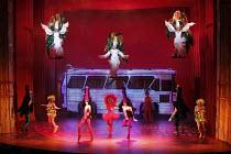 PRISCILLA QUEEN OF THE DESERT THE MUSICAL   by Stephan Elliott & Allan Scott   ~design: Brian Thomson   costumes: Tim Chappel & Lizzy Gardiner   director: Simon Phillips  ~flying, 3 Divas - l-r: Kate...