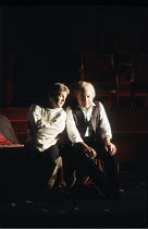 HAMLET   by Shakespeare   design: Bob Crowley   lighting: Alan Burrett   director: Adrian Noble   l-r: Kenneth Branagh (Hamlet), John Shrapnel (Claudius) Royal Shakespeare Company (RSC) / Barbican T...