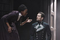 THE WINTER'S TALE   by Shakespeare   design: Jon Bausor   lighting : Jon Clark   director: David Farr ~Noma Dumezweni (Paulina), Greg Hicks (Leontes)~Royal Shakespeare Company (RSC) / Courtyard Theatr...