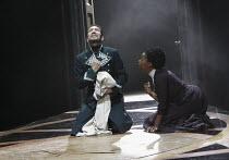 THE WINTER'S TALE   by Shakespeare   design: Jon Bausor   lighting : Jon Clark   director: David Farr ~Greg Hicks (Leontes), Noma Dumezweni (Paulina)~Royal Shakespeare Company (RSC) / Courtyard Theatr...