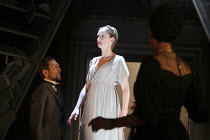 THE WINTER'S TALE   by Shakespeare   design: Jon Bausor   lighting : Jon Clark   director: David Farr ~l-r: Greg Hicks (Leontes), Kelly Hunter (Hermione, as statue), Noma Dumezweni (Paulina)~Royal Sha...