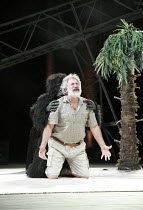 PEER GYNT   by Ibsen   adapted by Colin Teevan   design: Naomi Wilkinson   lighting: Chris Davey   director: Dominic Hill   Gerry Mulgrew (Old Peer) with gorilla National Theatre of Scotland & Dunde...