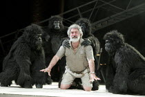 PEER GYNT   by Ibsen   adapted by Colin Teevan   design: Naomi Wilkinson   lighting: Chris Davey   director: Dominic Hill ~Gerry Mulgrew (Old Peer) with gorillas~National Theatre of Scotland & Dundee...