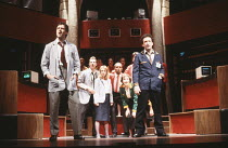 SERIOUS MONEY   A City Comedy   by Caryl Churchill   design: Peter Hartwell   lighting: Rick Fisher   director: Max Stafford-Clark ~front left: Julian Wadham (Frosby)   right: Allan Corduner (Durkfeld...