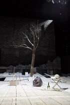 WAITING FOR GODOT   by Samuel Beckett   design: Stephen Brimson Lewis   lighting: Paul Pyant   director: Sean Mathias   set   stage   tree   props    Theatre Royal Haymarket (TRH), London SW1...
