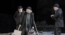 WAITING FOR GODOT   by Samuel Beckett   design: Stephen Brimson Lewis   lighting: Paul Pyant   director: Sean Mathias ~~l-r: Ian McKellen (Estragon), Ronald Pickup (Lucky), Patrick Stewart (Vladimir)~...