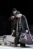 WAITING FOR GODOT   by Samuel Beckett   design: Stephen Brimson Lewis   lighting: Paul Pyant   director: Sean Mathias ~~l-r: Ian McKellen (Estragon), Ronald Pickup (Lucky)~Theatre Royal Haymarket (TRH...
