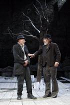 WAITING FOR GODOT   by Samuel Beckett   design: Stephen Brimson Lewis   lighting: Paul Pyant   director: Sean Mathias ~~l-r: Patrick Stewart (Vladimir), Ian McKellen (Estragon)  ~Theatre Royal Haymark...