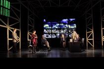 SERIOUS MONEY   by Caryl Churchill   design: Paul Willis   lighting: Ben Ormerod   director: Jonathan Munby ~~l-r: Rufus Wright (Jake Todd), Pandora Colin (Jacinta Condor), Wil Johnson (Nigel Ajibala)...