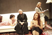 GRASSES OF A THOUSAND COLOURS   by Wallace Shawn   design: Eugene Lee   lighting: Howard Harrison   director: Andre Gregory   l-r: Emily McDonnell (Rose), Wallace Shawn (The Memoirist / Ben), Jennife...