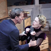 A DOLL'S HOUSE   by Ibsen   in a new version by Zinnie Harris   design: Anthony Ward   lighting: Hugh Vanstone   director: Kfir Yefet ~Christopher Eccleston (Neil Kelman), Gillian Anderson (Nora)~Donm...