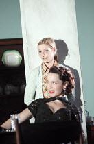 AUNT DAN AND LEMON   by Wallace Shawn    design: Lizzie Clachan   lighting: Jon Clark   director: Dominic Cooke   front: Scarlett Johnson (Mindy)   rear: Jane Horrocks (Lemon)    Jerwood Theatre D...