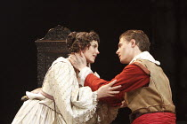 WALLENSTEIN   by Friedrich Schiller   adapted by Mike Poulton   design: Robert Innes Hopkins   director: Angus Jackson ~Annabel Scholey (Princess Thekla), Max Irons (Max Piccolomini)~Minerva Theatre /...