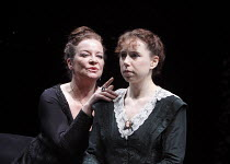 ALL'S WELL THAT ENDS WELL   by Shakespeare   design: Rae Smith   lighting: Peter Mumford   director: Marianne Elliott ~l-r: Clare Higgins (Countess of Rossollion), Michelle Terry (Helena)   ~Olivier T...