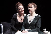 ALL'S WELL THAT ENDS WELL   by Shakespeare   design: Rae Smith   lighting: Peter Mumford   director: Marianne Elliott ~l-r: Clare Higgins (Countess of Rossillion), Michelle Terry (Helena)   ~Olivier T...