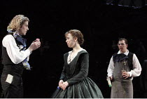 ALL'S WELL THAT ENDS WELL   by Shakespeare   design: Rae Smith   lighting: Peter Mumford   director: Marianne Elliott ~l-r: Alex Felton, Michelle Terry (Helena), Tom Padley      ~Olivier Theatre / Nat...